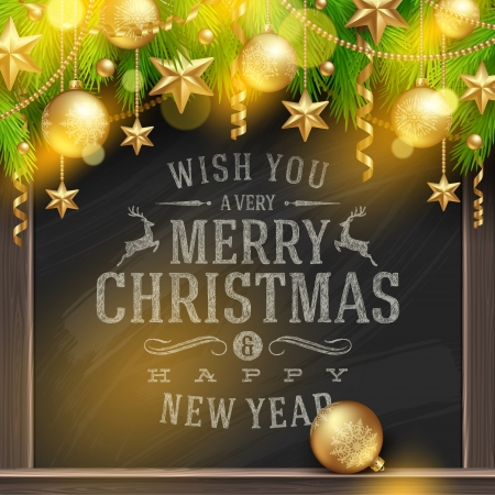 Christmas vector illustration - holidays greetings on a chalkboard and Christmas tree branches with golden decoration and baubles Stock Vector - 23210763