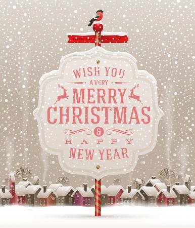Uithangbord met kerst groet tegen een winterlandschap met sneeuw bedekte dorp - vectorillustratie