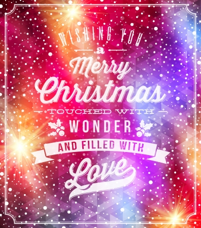 Christmas lettering greetings on a holidays winter background - vector illustration