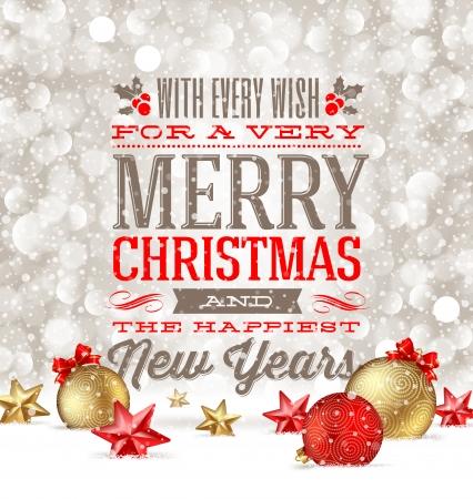 felicitaciones navide�as: Saludos de Navidad y adornos festivos en la nieve - ilustraci�n vectorial