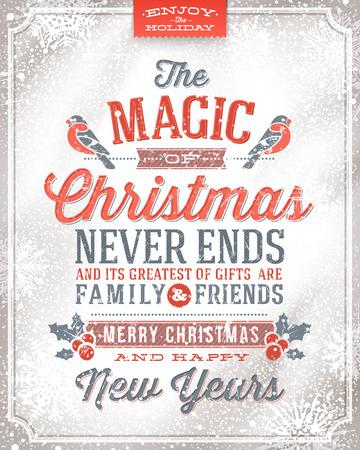 tarjeta: Vector tarjeta de felicitación de Navidad - Vacaciones en letras sobre un fondo de nieve del invierno