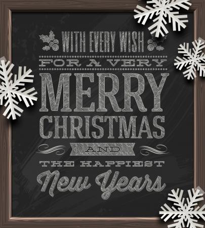 nieuwjaar: Kerst vector illustratie - groeten op een bord en wit papier sneeuwvlokken