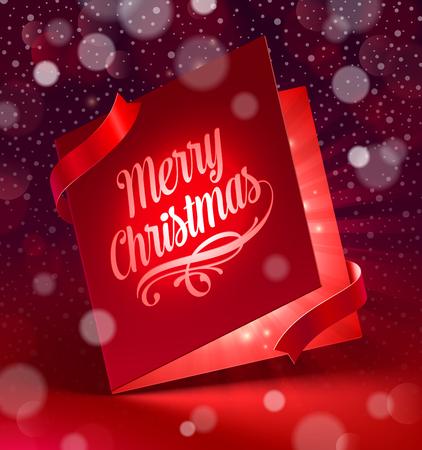 Luminous Christmas greeting card   - vector illustration Vector
