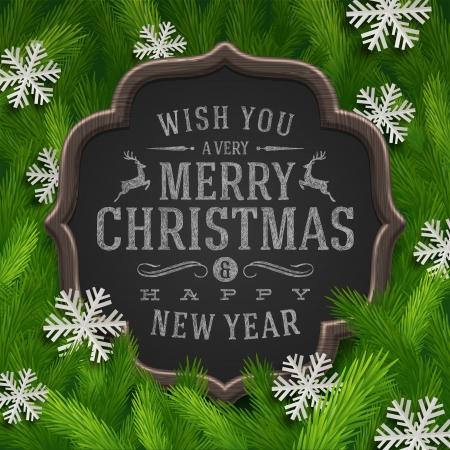 sayings: Bord met kerst wens en papier sneeuwvlokken in een dennenboom takken - vectorillustratie Stock Illustratie