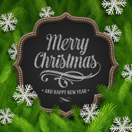 Chalkboard with christmas greeting and paper snowflakes in a fir-tree branches - vector illustration Vector