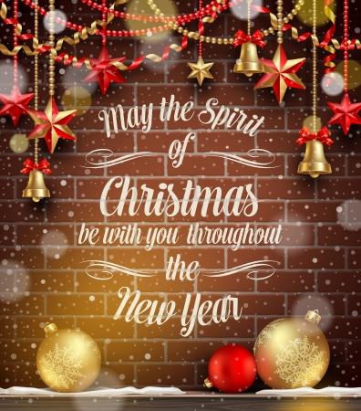 appendere: Natale illustrazione vettoriale - Vacanze arredamento, palline e auguri contro un muro di mattoni Vettoriali