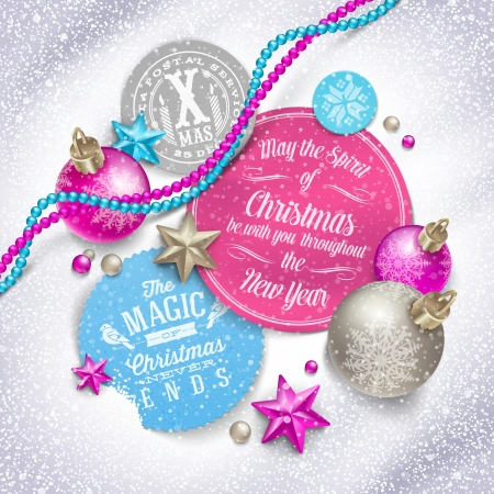 Cardboard labels with Christmas greeting and holiday decor on a snow - vector illustration Stock Vector - 23902746