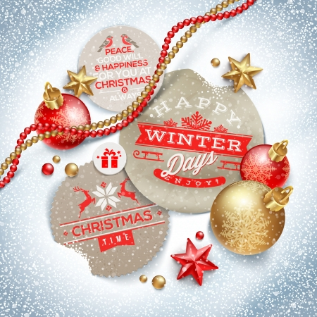 Cardboard labels with Christmas greeting and holiday decor on a snow - vector illustration Illustration
