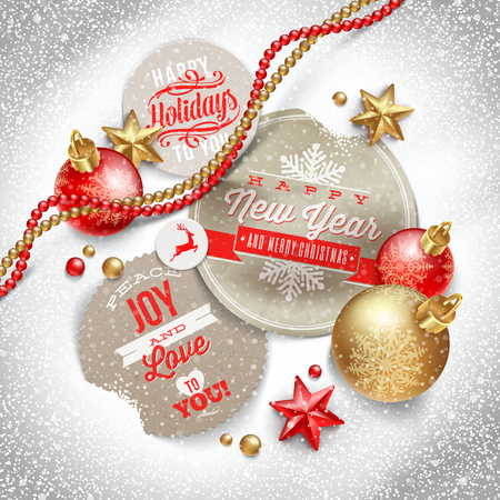 Cardboard labels with Christmas greeting and holiday decor on a snow - vector illustration Stock Vector - 23902749