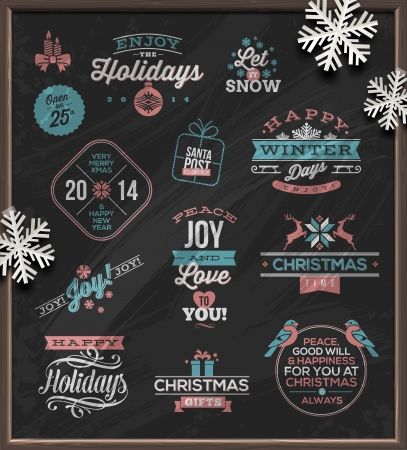 Christmas vector illustration - holidays signs, emblems and greetings on a chalkboard and white paper snowflakes