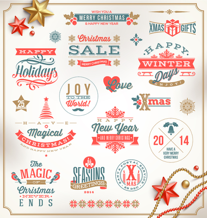 Vector set of Christmas signs emblems and Greetings Vector