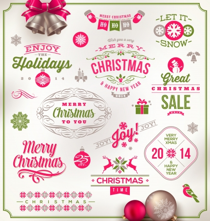 Vector set of Christmas signs emblems and Greetings
