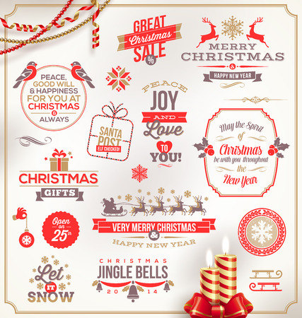Vector set of Christmas signs emblems and Greetings Stock Vector - 23902753