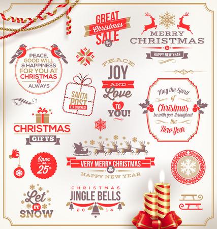sayings: Vector set van Kerstmis ondertekent emblemen en Groeten Stock Illustratie