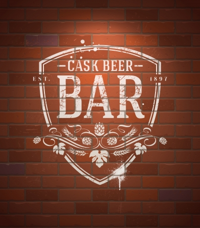 brickwork: Bar sign painted with white paint on vintage brick wall - vector illustration