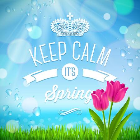 Keep calm it s spring - vector design Vector