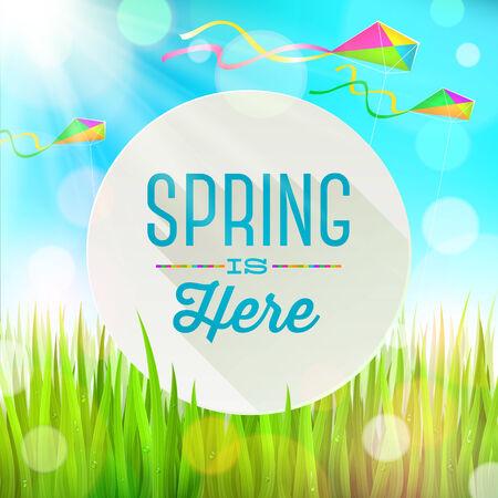 papalote: Saludo primavera bandera ronda contra un paisaje con hierba fresca y cometas de colores - ilustración vectorial