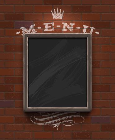 woodgrain: Menu chalkboard in wooden frame on vintage brick wall - vector illustration