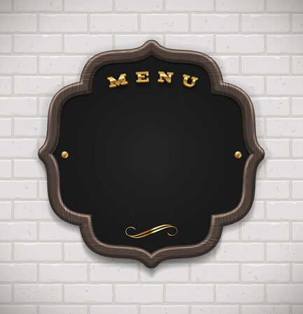 Menu chalkboard in wooden frame on white brick wall - vector illustration Vector