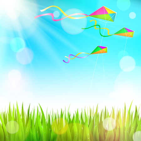 Summer sunny landscape with green grass and colorful kites flying in the sky