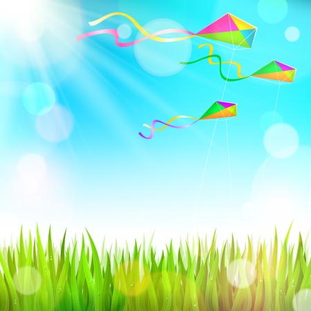 El verano soleado paisaje con hierba verde y coloridas cometas volando en el cielo