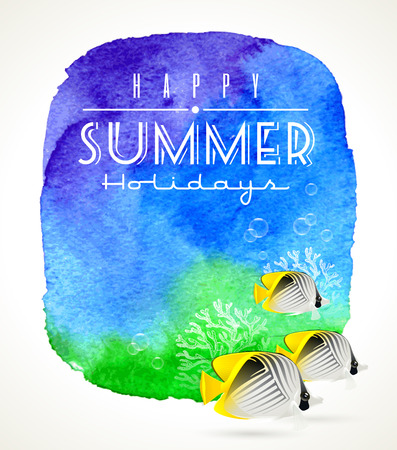 Summer holidays greeting and tropical coral fish against a watercolor background
