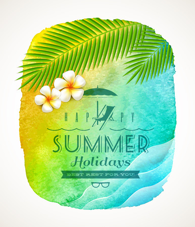Summer holiday greeting - watercolor background banner with sea waves, palm tree branches and frangipani flowers on shore