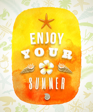 Watercolor banner with summer greeting on a background composed of summer things Illustration