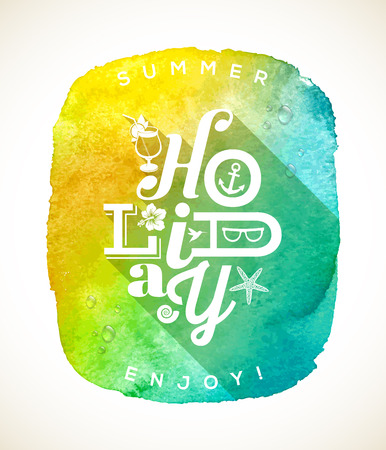Summer holiday greeting with summer things against a watercolor background banner Vector