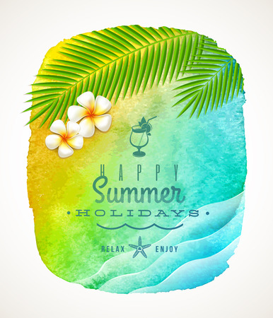 sea waves: Summer holiday greeting - watercolor background banneer with sea waves, palm tree branches and frangipani flowers on shore - vector illustration Illustration