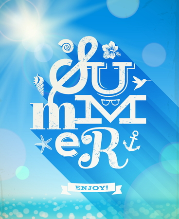 Summer greeting with summer things against a sunny seascape - vector illustration Vector