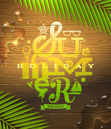 eventide: Summer holidays type design painted on wooden surface and palm tree branches - vector illustration