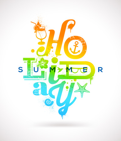 Summer holidays multicolored type design - vector illustration Vector