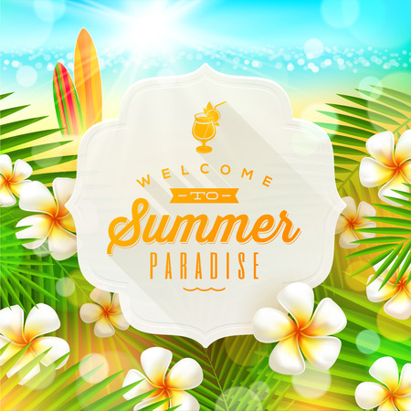 palm branch: Banner with summer greeting and frangipani flowers against a  tropical  shore seascape with surfboards  - vector illustration Illustration