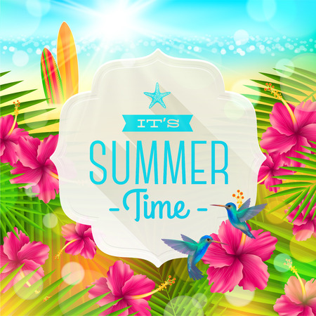 Banner with summer greeting, hummingbirds and hibiscus flowers against a  tropical  shore seascape with surfboards  - vector illustration Illustration