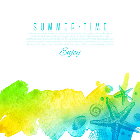 sea: Summer vector design - hand drawn sea creatures on a watercolor background Illustration
