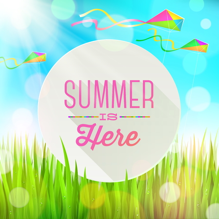 Summer  greeting round banner against a landscape with fresh grass and colorful kites - vector illustration Vector