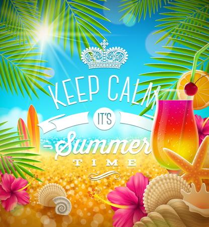 hibisco: Vacaciones de verano de felicitación - diseño tropical, ilustración vectorial