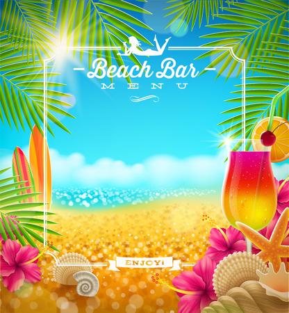 열대 여름 휴가 - 비치 바 메뉴 벡터 디자인 일러스트