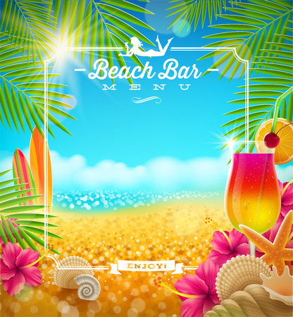 sea shells on beach: Tropical summer vacation - Beach bar menu vector design Illustration