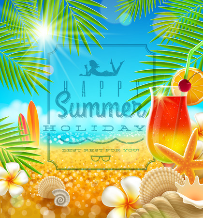 flora fauna: Tropical summer vacation - greetings vector design