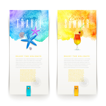 tropical drink: Summer and travel watercolor banners - vector illustration