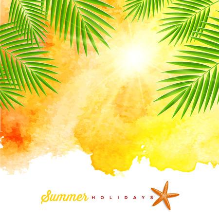 熱帯の夏の水彩背景にヤシの木の枝、ヒトデ - ベクトル イラスト  イラスト・ベクター素材