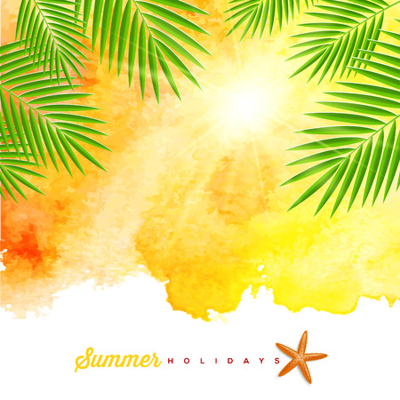 Tropical summer watercolor background with palm trees branches and starfish - vector illustration Illustration