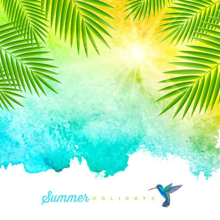 background: Tropical acuarela de fondo de verano con las palmeras ramas y colibrí - ilustración vectorial Vectores