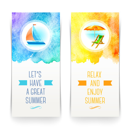 beach umbrella: Summer holidays and travel banners with greetings and watercolor elements - vector illustration Illustration