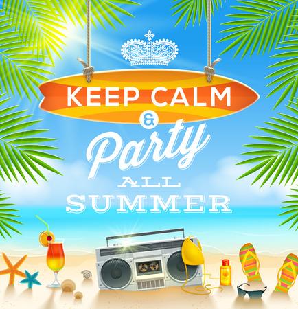 夏の休日の挨拶デザイン - ベクトル イラスト