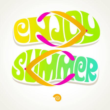 Flip-flop with summer greeting - vector illustration
