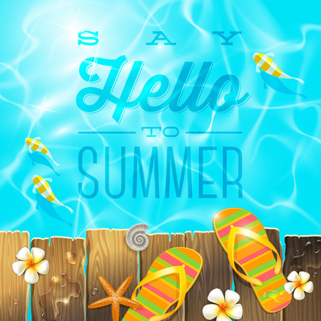 Flip-flop on old wooden plank platform over Azure water with tropical fishes - vector illustration with summer holidays greeting Ilustracja