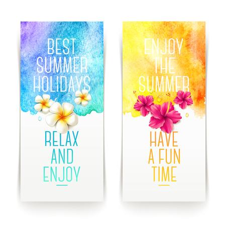 verano: Banners Vacaciones de verano acuarela con flores tropicales y saludos de verano - ilustración vectorial